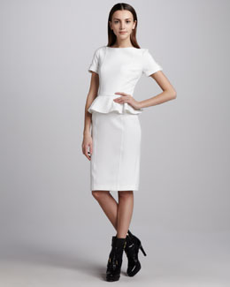 Burberry London Soft Tailoring Short-Sleeve Peplum Dress
