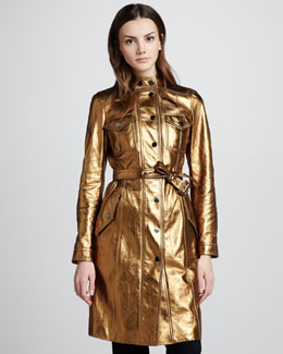 Burberry London Metallic Leather Trenchcoat