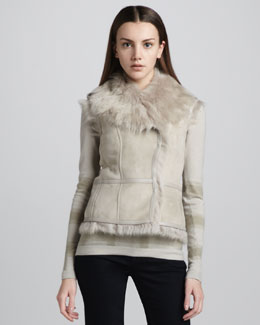 Burberry London Shearling Hook-and-Eye Vest