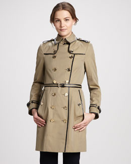 Burberry London Patent-Trim Gabardine Trenchcoat