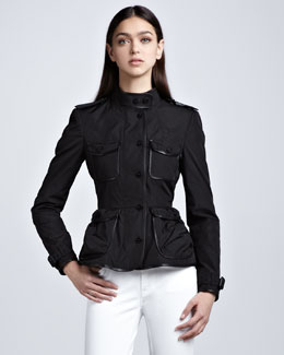 Burberry London Leather-Trim Taffeta Shirt Jacket