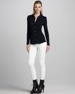 Burberry London Skinny Ankle-Zip White Jeans