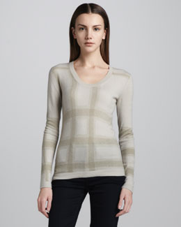 Burberry London Check-Print Cashmere Sweater