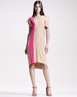 Maison Martin Margiela Colorblock V-Neck Dress, Beige/Pink