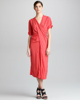 Donna Karan Asymmetric-Draped Crepe Dress