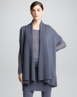 Donna Karan Ribbed Draped Cashmere Cardigan