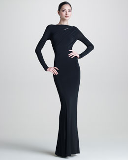 Donna Karan Long-Sleeve Jersey Gown