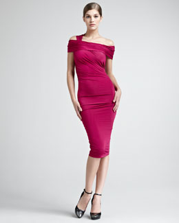 Donna Karan Draped Luster Jersey Dress