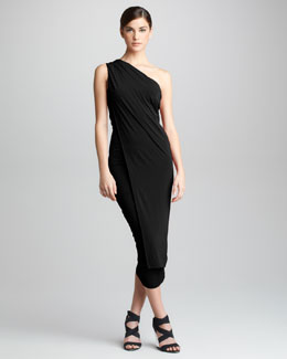 Donna Karan One-Shoulder Jersey Cocktail Dress