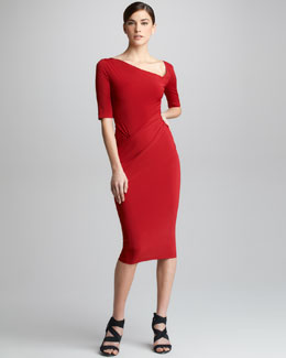 Donna Karan Half-Sleeve Draped Jersey Dress