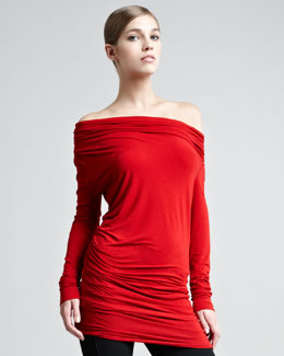 Donna Karan Off-the-Shoulder Long-Sleeve Tunic