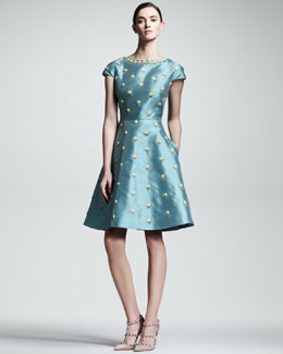 Valentino Floral-Embroidered Cap-Sleeve Dress