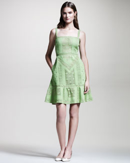 Valentino Lace Voulant Dress, Verde
