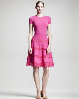 Valentino Lace-Skirt Short-Sleeve Dress