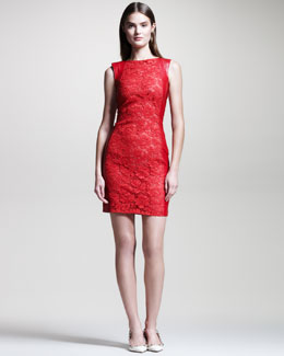 Valentino Lace-Front Leather Dress