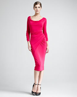 Donna Karan Draped Scoop-Neck Jersey Dress