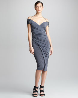 Donna Karan Off-The-Shoulder Jersey Dress