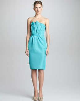 Giorgio Armani Fan-Pleated Strapless Bustier Dress