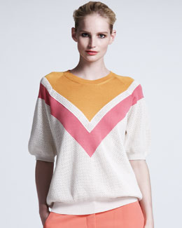 Stella McCartney Chevron Mesh Sweater, Bright Pink/White