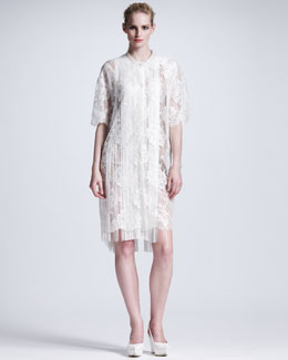 Stella McCartney Fringed Floral Lace Dress, Off White