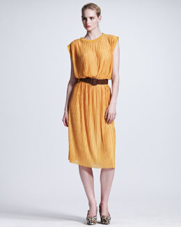Stella McCartney Plisse Jersey Shift Dress