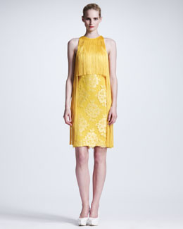 Stella McCartney Fringed Halter Lace Dress, Citrus