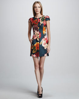 J. Mendel Floral-Print Cap-Sleeve Sheath Dress