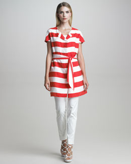 Armani Collezioni Belted Nautical-Striped Tunic