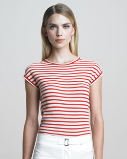 Armani Collezioni Cap-Sleeve Striped Knit Top, Grenadine