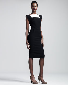 Roland Mouret Watson Colorblock Crepe Dress