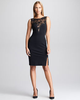 Emilio Pucci Lace-Yoke Sheath Dress, Black