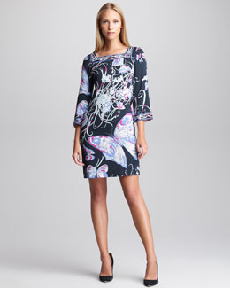 Emilio Pucci Butterfly-Print Bell-Sleeve Dress