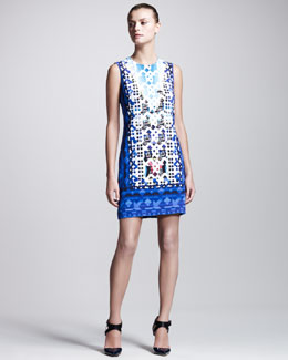 Peter Pilotto Stamped Jersey Dress, Blue