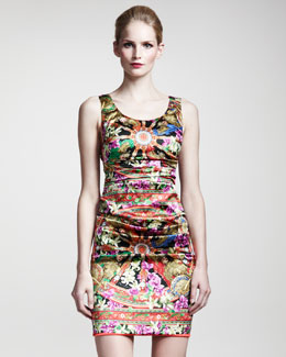 Dolce & Gabbana Printed Stretch-Satin Dress