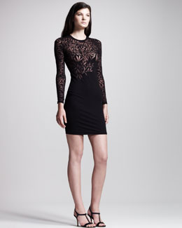 Jonathan Saunders Devore Long-Sleeve Minidress