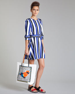 Marni Striped Trench-Detail Dress