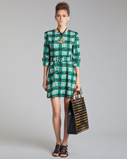 Marni Trench-Detail Printed Poplin Dress