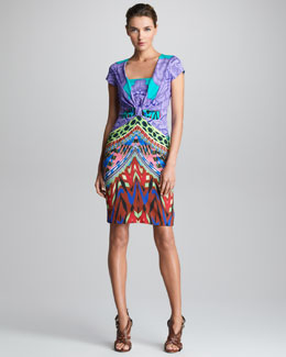 Etro Cap-Sleeve Knot-Waist Dress
