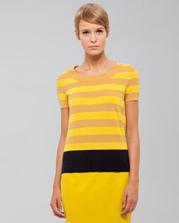 Akris punto Striped Wool Sweater, Citron/Marine