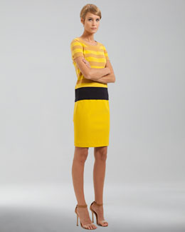 Akris punto Jersey Pencil Skirt, Citron
