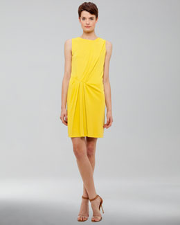 Akris punto Draped Jersey Dress, Citron