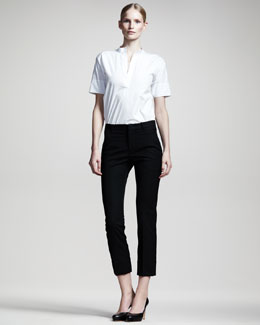 Jil Sander Niccolo Straight-Leg Cropped Pants, Black