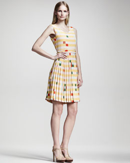 Fendi Printed Plisse-Skirt Dress