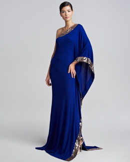 Roberto Cavalli One-Shoulder Sequined Gown