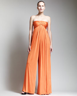 Alexander McQueen Strapless Empire-Waist Jumpsuit, Orange