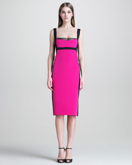 Narciso Rodriguez Colorblock Silk Sheath Dress