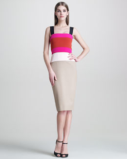 Narciso Rodriguez Colorblock Sleeveless Dress