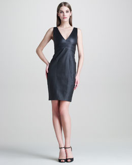 Narciso Rodriguez Stretch-Leather V-Neck Dress