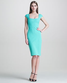 Narciso Rodriguez Stretch-Pique Cap-Sleeve Dress