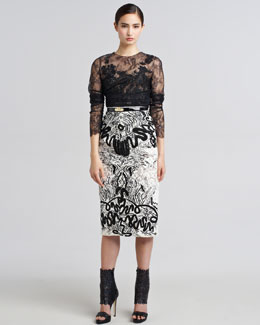 Oscar de la Renta Embroidered Guipure Lace Skirt